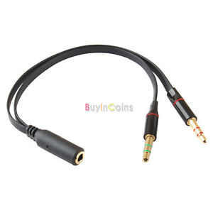 female to 2 male headphone mic audio y splitter cable ebay