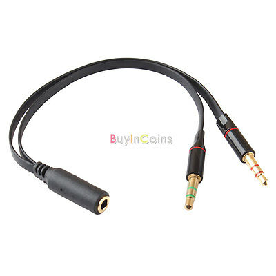 3.5mm Female to 2 Male Headphone Mic Audio Y Splitter Cable