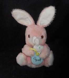 11-034-VINTAGE-KNICKERBOCKER-PINK-BUNNY-RABBIT-STUFFED-ANIMAL-PLUSH-TOY-SQUEAKS