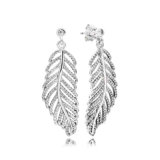 999d6c93a Authentic Pandora Light as a Feather Clear CZ Drop Earrings #290584CZ