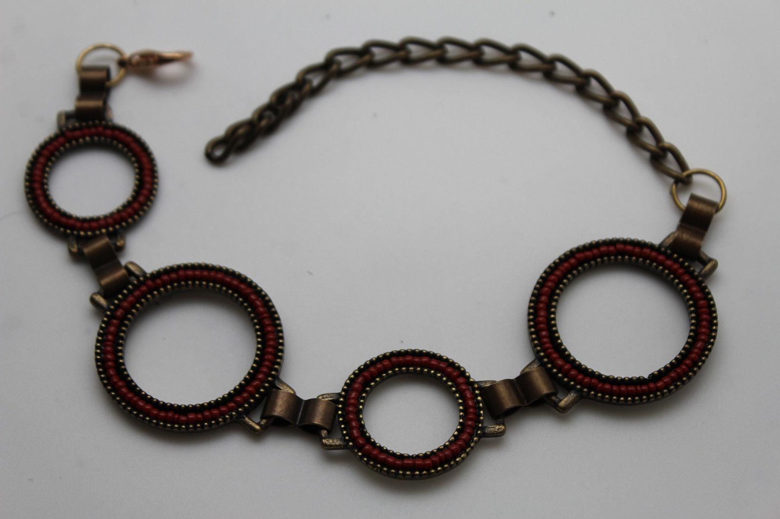 Women Boot Bracelet Metal Chain Antique Gold Red Rings Anklet Bling Shoe Charm