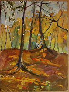 Russian-Ukrainian-Soviet-Oil-Painting-Landscape-autumn-impressionism-fauvism