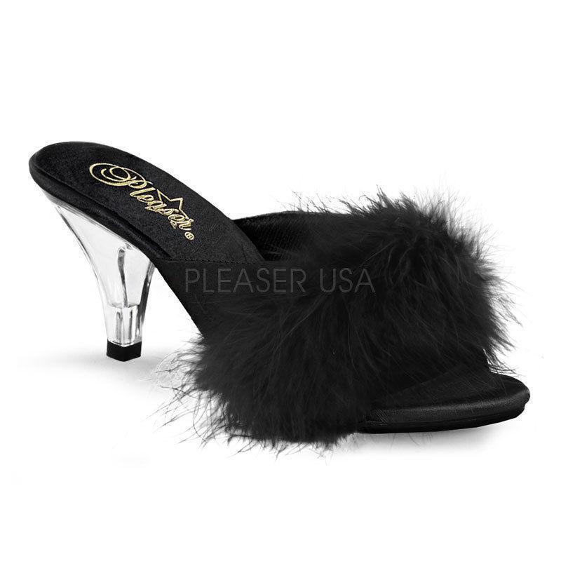 Erotische Damen Mädchen Pantoletten Belle-301F schwarz Marabufedern Größen 35-47