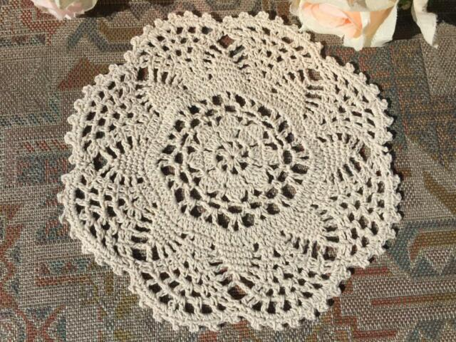 Chic Beige Cotton Flower Hand Crochet Lace Doily/Topper/Tray Cloth Round 8""