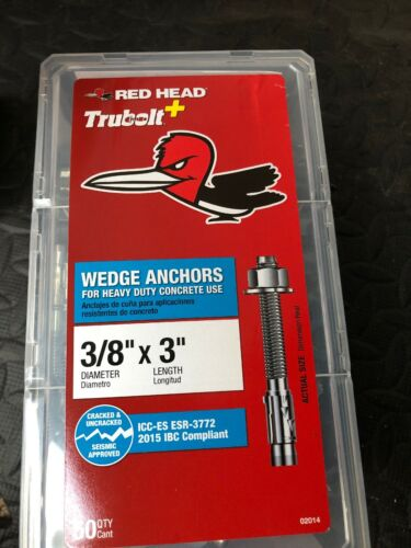 "Box of 50 Red Head  3//8 /"" X 3 /"" Wedge Anchors 02014 For Heavy Duty Concrete"