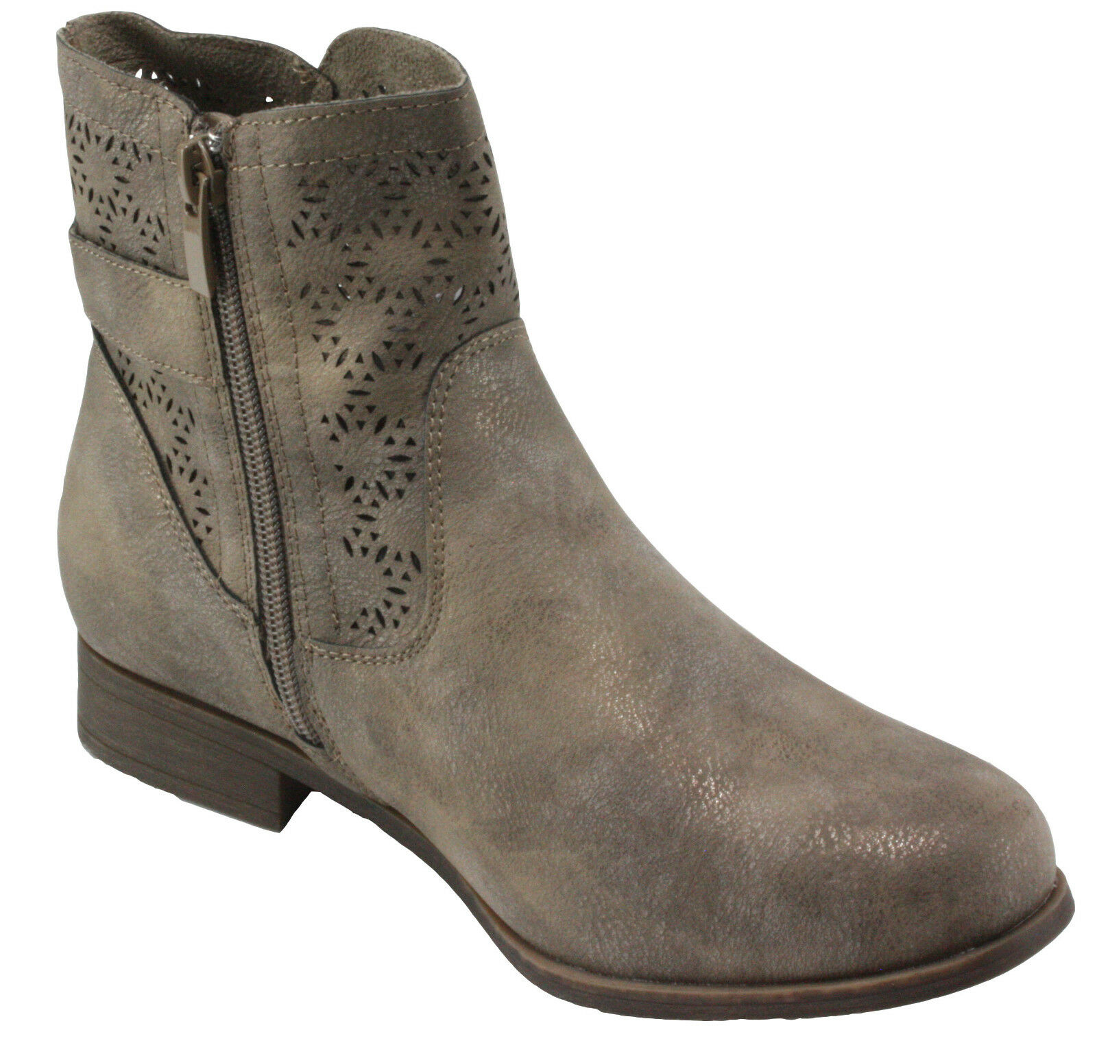 Forever Lite-08 Leatherette Hollow Carving Shaft Block Low Heel Ankle Boots