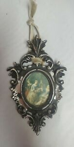 Antique-Italy-Carved-Wood-Rococo-Ornate-Silver-Tone-Victorian-Frame