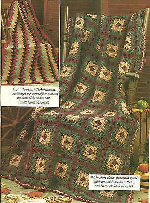 *Heather Print & Kilim-Inspired Afghans crochet PATTERN INSTRUCTIONS