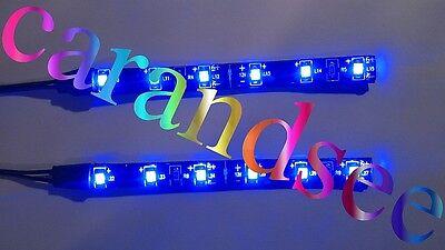 1 LOT DE 2 MINI BANDE A 6 LED BLEU 10 CM SMD 3528 12 VOLTS ECLAIRAGE TUNING