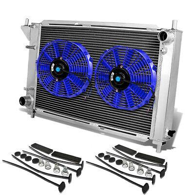 "FULL ALUMINUM 3-ROW RADIATOR+2X 10/"" BLUE COOLING FAN 96 FORD MUSTANG V8//V6 MT GT"