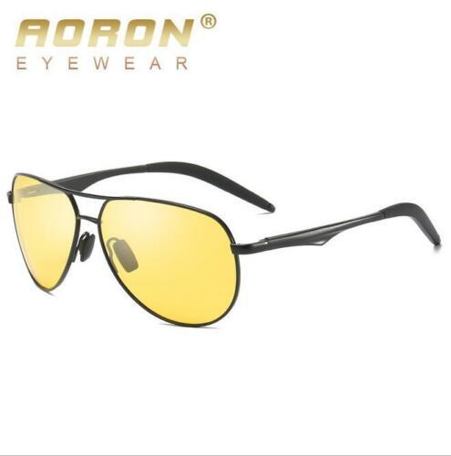 AORON Men/'s Aluminum Polarized Sunglasses Outdoor Driving Night Vision Eyewear
