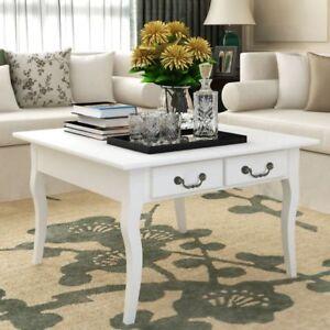 vidaxl couchtisch kaffeetisch beistelltisch tisch mit 4 schubladen wei ebay. Black Bedroom Furniture Sets. Home Design Ideas
