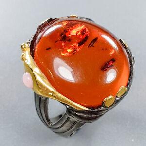 Amber-Ring-Silver-925-Sterling-Vintage-Art-Design-Size-8-R132331