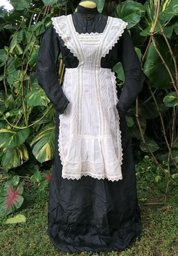 ANTIQUE 1900s DRESS AND APRON EDWARDIAN VICTORIAN
