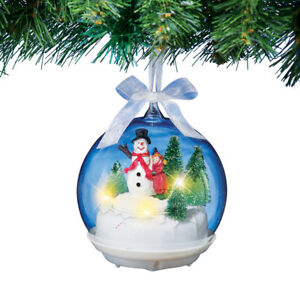 Musical Snowman Christmas Tree Ornament Spinning Globe Decoration