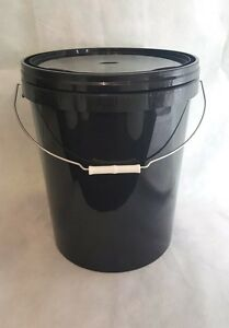 5-x-25-L-Ltr-Litre-Black-Plastic-Buckets-Containers-with-Tamper-evident-Lids