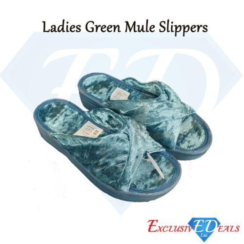 Ladies Size 5//6 Comfy Wedged Velour Sliders Emerald Green Mule Padded Slippers