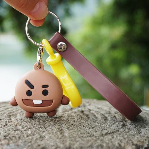 Kpop BTS BT21 Cartoon Car Key Chain Keyring Bag Pendant TATA COOKY MANG KOYA New