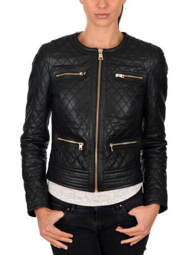 cuir cintrée biker en de de noir en d'agneau Veste style vachette femmes pour cuir xqItH8