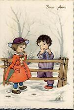 Bambini con Ombrellino verde Buon Anno Childrens New Year PC Circa 1950 S425/5