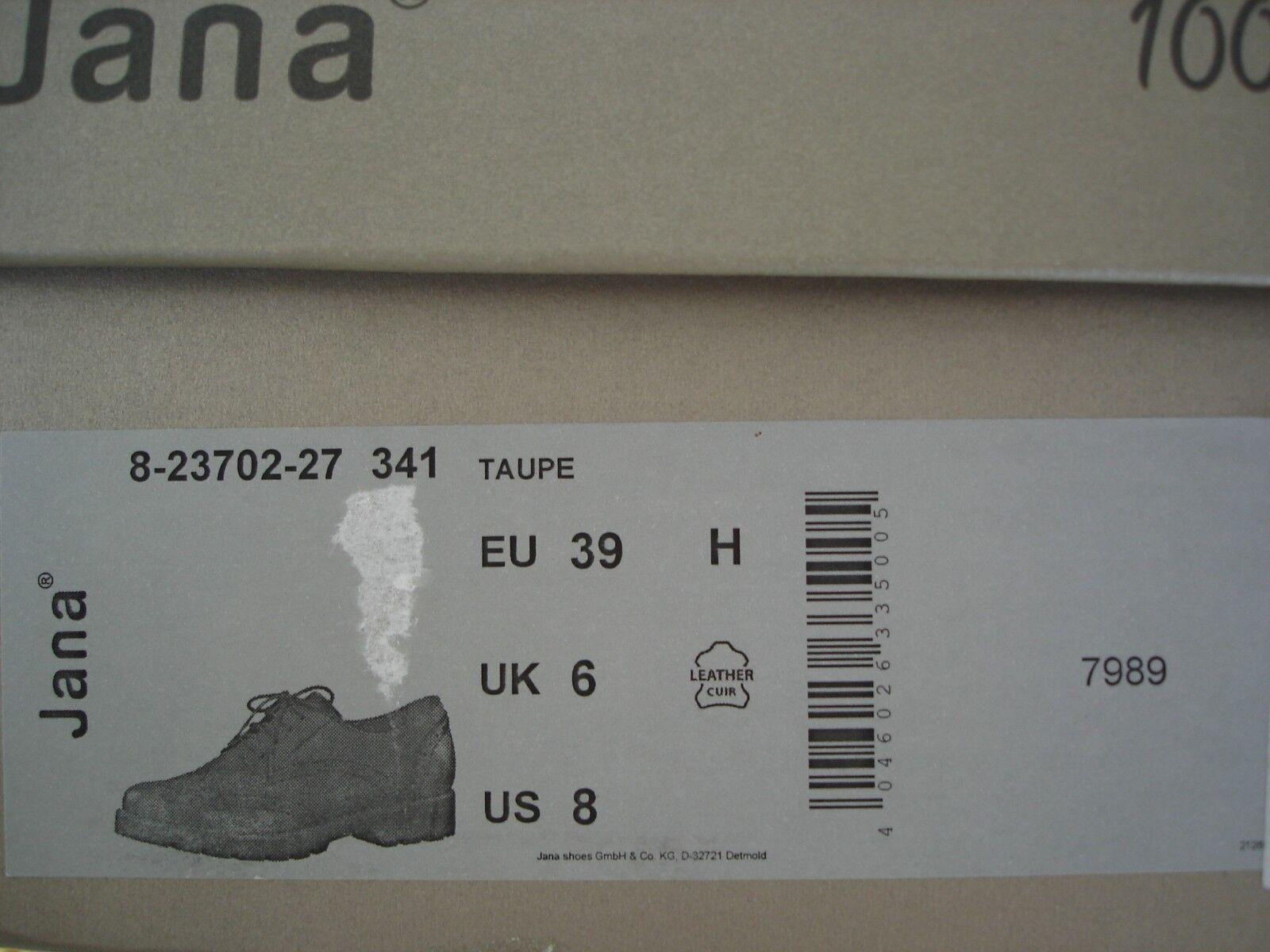 Jana Damen Schuhe Halbschuhe Schnürschuhe Gr. 39 taupe NEU