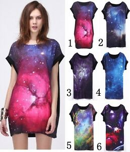 POP-Galaxy-Starry-Front-Space-graphic-Digital-print-punk-Loose-T-shirt-top-dress