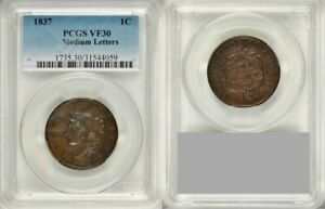 Beautiful-1837-Liberty-Young-Head-Design-Medium-Letters-Large-Cent-PCGS-VF-30