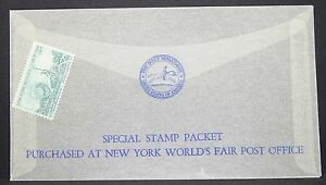 US-World-039-s-Fair-Ny-1964-5c-Glass-Letter-Special-Stamp-Packet-USA-Letter-Y-402