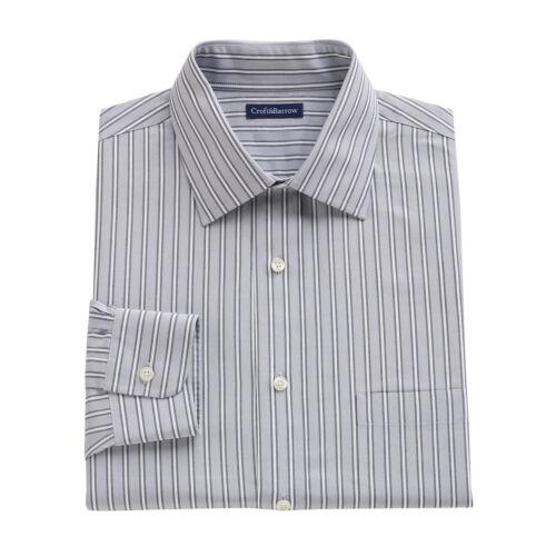 New Croft /& Barrow Men Classic-Fit 100/% Cotton Performance Dress Shirt MSRP $65