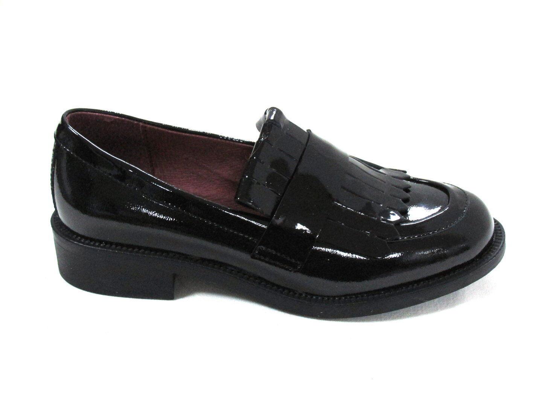 scarpe Donna colore Frau 95V6 mocassino pelle frangia frontale colore Donna vernice Nero Vino 219a45