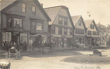 North Anson ME Main Street Store Fronts Hilton's Post Office RPPC Postcard