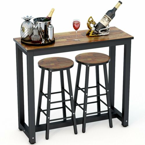Tribesigns 3-Piece Pub Table Set with 2 Bar Stools for Home Kitchen Dining Room