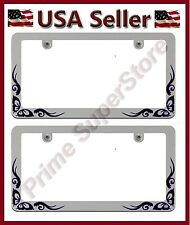 2 New Chrome Metal Purple Butterfly License Plate Frames Car Steel Tag Holder I