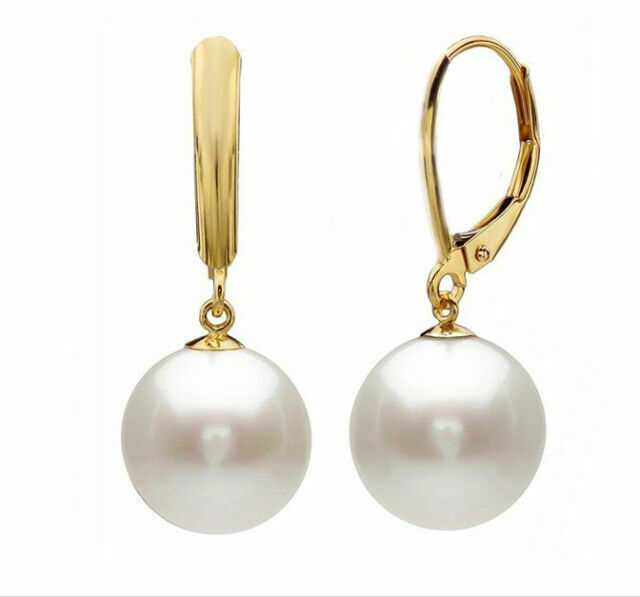WHITE SOUTH SEA PEARLS EARRING 14K GOLD Round 10-11MM AAA