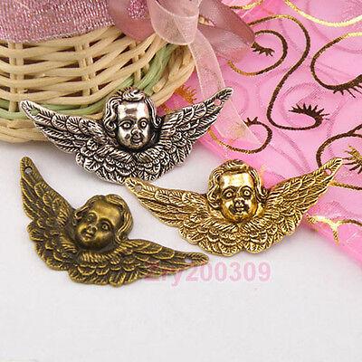 6Pcs Tibetan Silver,Antiqued Gold,Bronze Angel Connectors Charm Pendant M1284