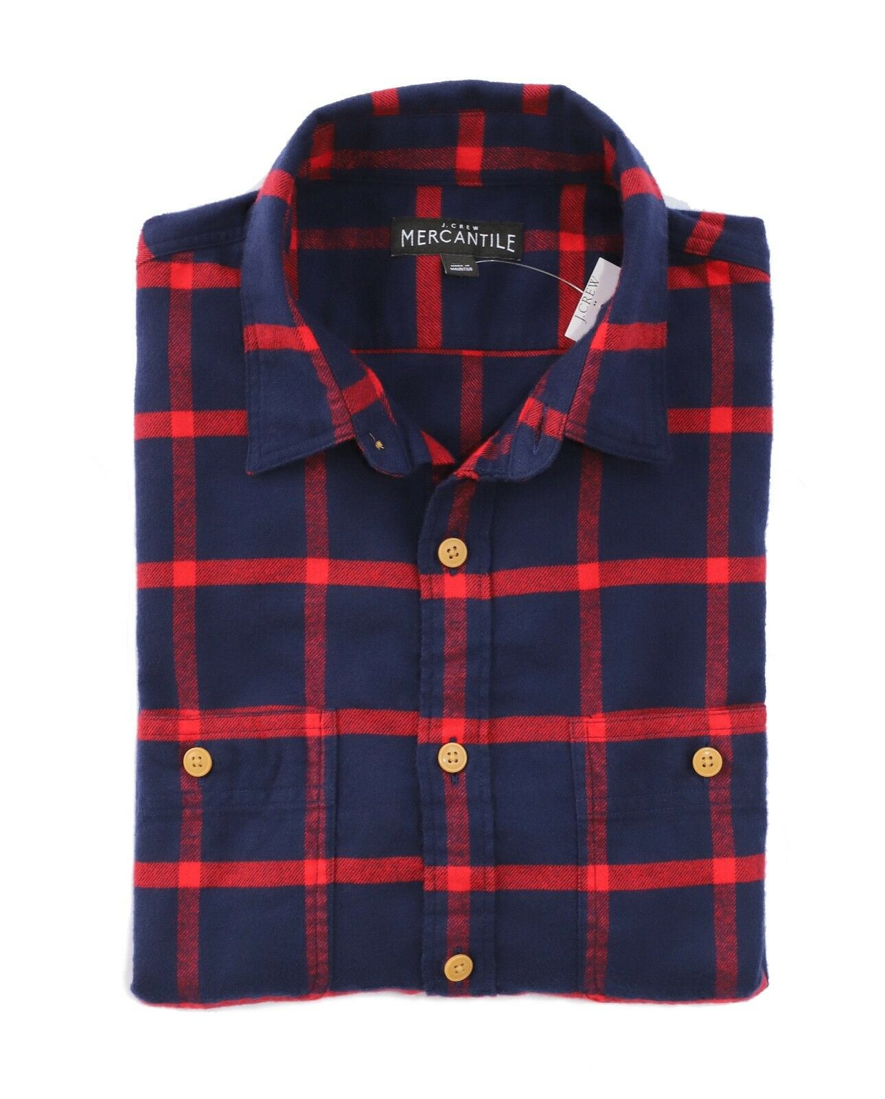 J.Crew Mercantile Mens XS Slim Fit - Imperial bluee Red Plaid Flannel Shirt