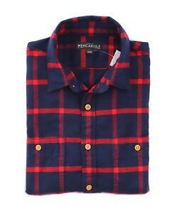 J-Crew-Mercantile-Mens-M-Slim-Fit-Imperial-Blue-Red-Plaid-Flannel-Shirt