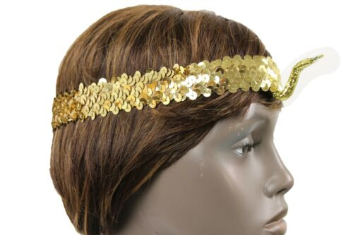 Women Elastic Band Forehead Fashion Head Snake Cleopatra Costume Gold Sequins