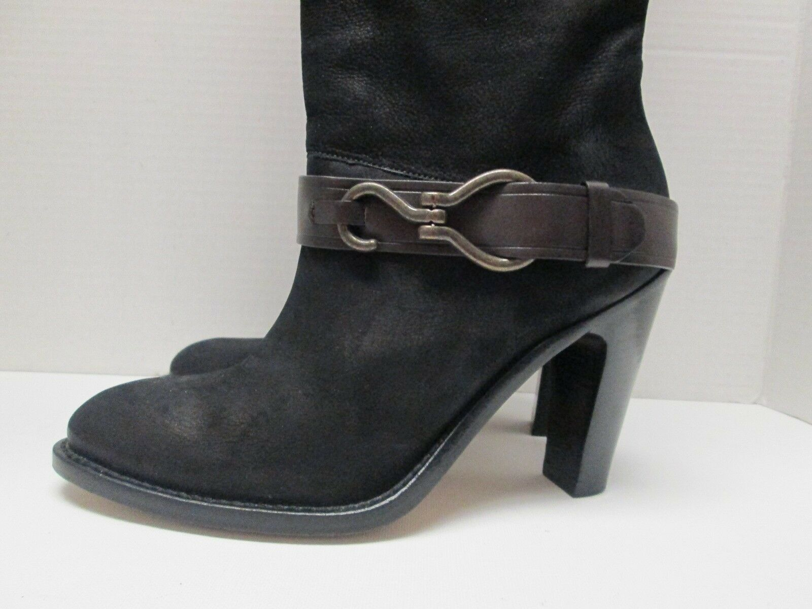 COLE HAAN HAAN HAAN Black Leather Knee High Boots Women's Size 7 B Made in Brazil 36480b