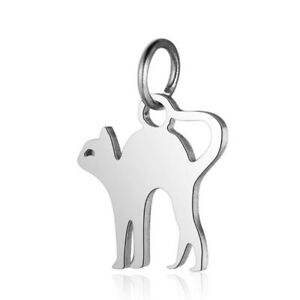 10pcs-Stainless-Steel-Silver-Tone-Cat-Charms-Little-Pendent-For-DIY-Jewelry