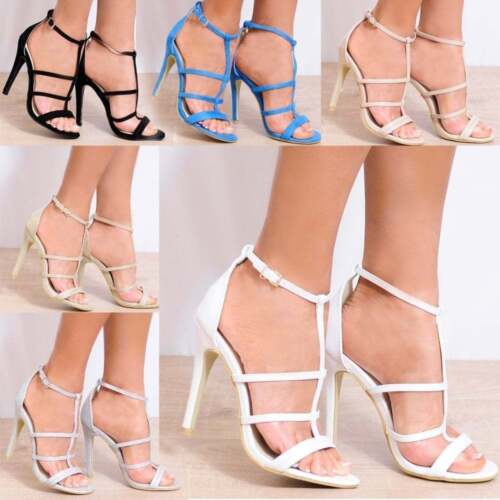 LADIES STRAPPY OPEN TOE ANKLE STRAP STILETTO HIGH HEELS SHOES SIZES 3 4 5 6 7 8