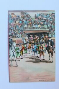 Postcard-Antique-Drawing-Of-Corida-Spanish-Salida-De-La-Cuadrilla