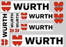 WURTH STICKER SET - SHEET OF 9 STICKERS - DECALS