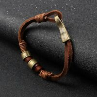 Women Mens Cool Hemp Cords PU Leather Wrap Surfer Bracelet Wristband Cuff Brown
