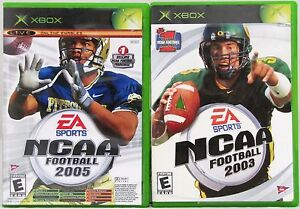 NCAA-Football-2003-2005-and-Top-Spin-Tennis-Microsoft-Xbox-Video-Game-Lot-of-2