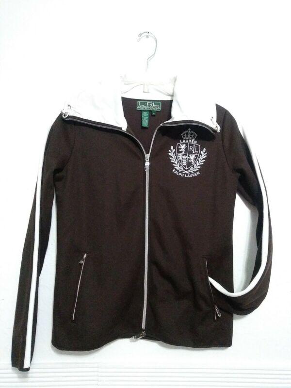 L-rl Active Ralph Lauren Crest Womens Sweater Jacket Full Zip Front Blue Size M