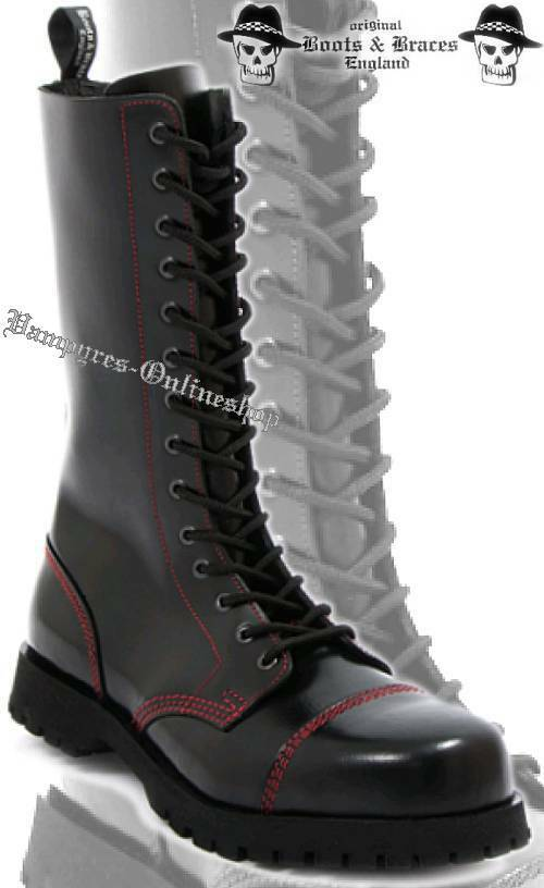 Boots & Braces 14-Loch Rote Naht Stiefel Schwarz Leder Rangers And Stahlkappe