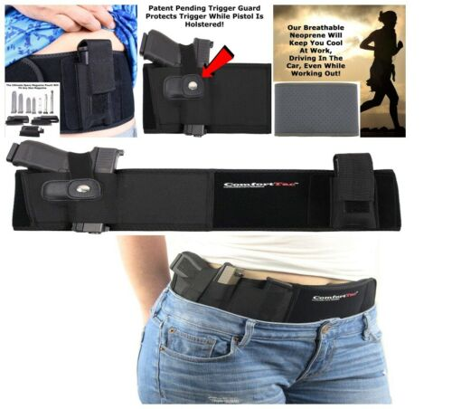 Belly Band Holster Concealed Carry Fits Glock 19 23 38 42 43 P238 Ruger LCP RH