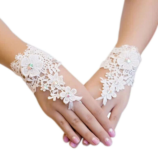 Wedding Gown Accessories Fingerless Gloves Inlaid Rhinestone Bridal Lace Gloves