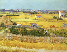 Oil Vincent Van Gogh - Harvest at La Crau, with Montmaiour in the Background